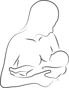 Breastfeeding newborn baby sketch