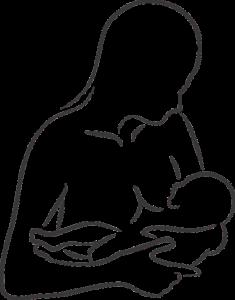 Breastfeeding newborn baby sketch